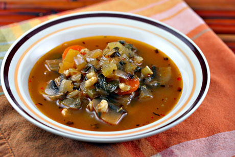 Spicy barley soup, light and healthy.