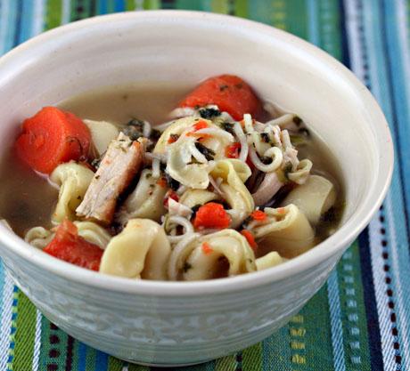 Turkey and tortellini vegetable soup
