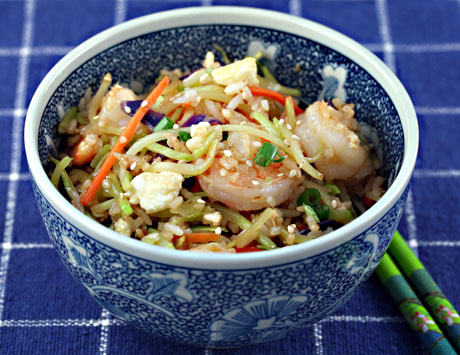 Sesame shrimp fried rice with broccoli slaw