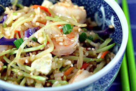 Sesame shrimp fried rice