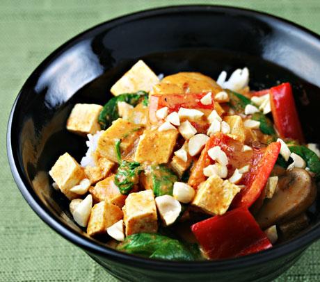 Vegan red curry tofu