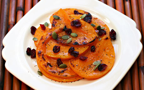 Roasted winter squash with cranberries, pepitas and honey-lime vinaigrette
