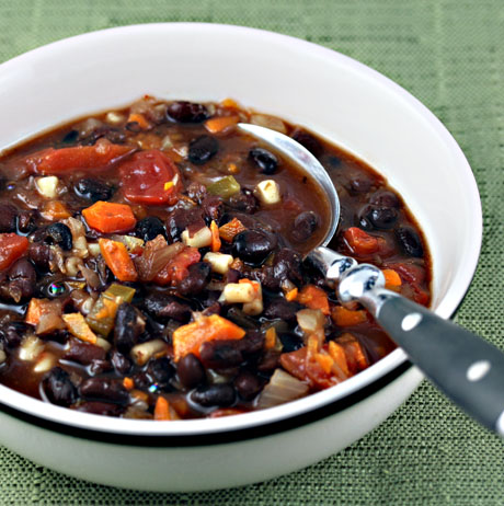 Vegan sweet and sassy black bean soup