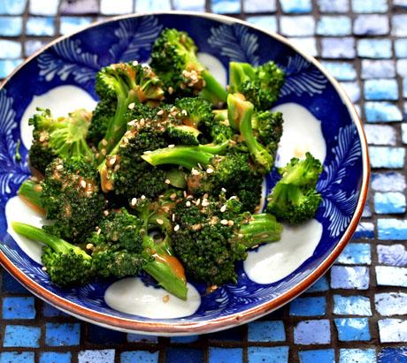Broccoli salad with sesame peanuts auce