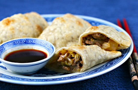 One of my favorite cross-cultural appetizers, Asian turkey and cabbage empanadas.