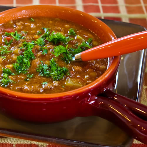 Spicy sausage, lentil and tomato soup, a Kalyn's Kitchen favorite.