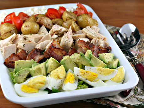 Composed salad with lemon yogurt dressing.