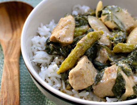 Thai green basil curry chickend
