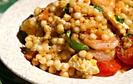 Shrimp, couscous, feta and herb salad