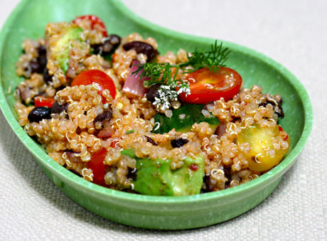 Quinoa and vegetable salad with chipotle lime dressing.