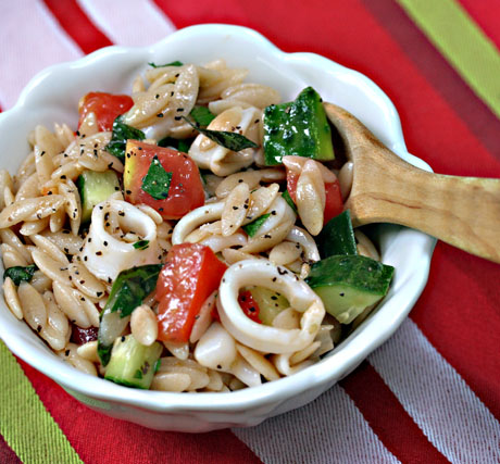 Calamari-vegetable-and-whole-wheat-orzo-salad