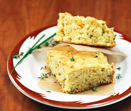 Cornbread-with-fresh-corn-and-herbs
