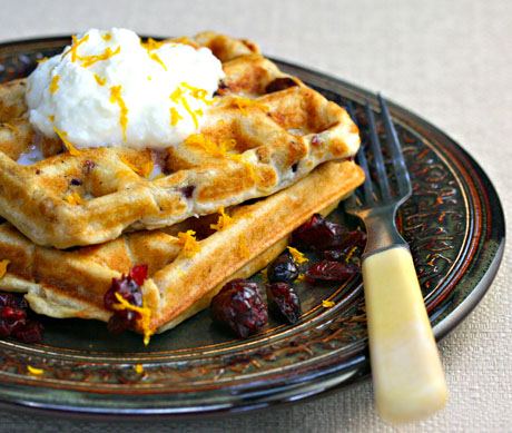 Cranberry-orange-and-walnut-buttermilk-waffles