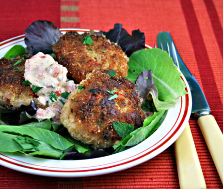 Cod cakes with red pepper, tarragon and yogurt remoulade. Make them ...