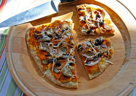 Whole-wheat-pizza-with-pumpkin-black-beans-and-caramelized-onion