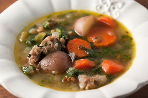 Hearty spinach and sausage soup, winter comfort from Pinch My Salt.