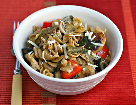 Whole-wheat-pasta-with chicken-sausage-and-green-slow-roasted-tomatoes