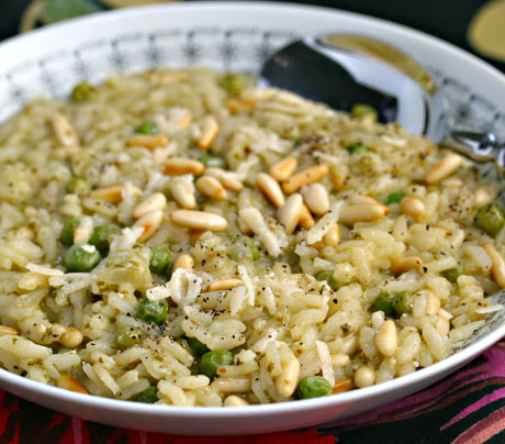 Pesto-pea-and-pine-nut-risotto-detail