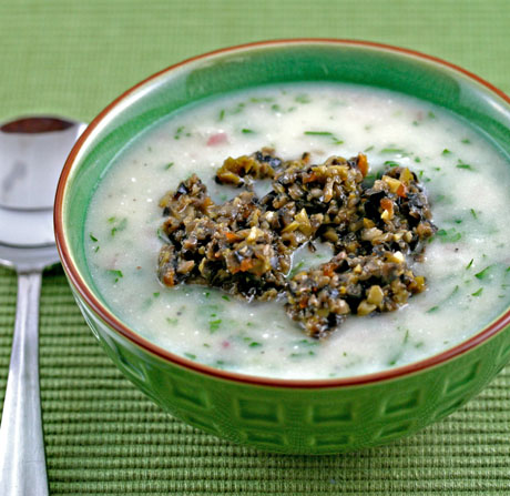 Potato-and-parsley-soup-with-olive-tapenade