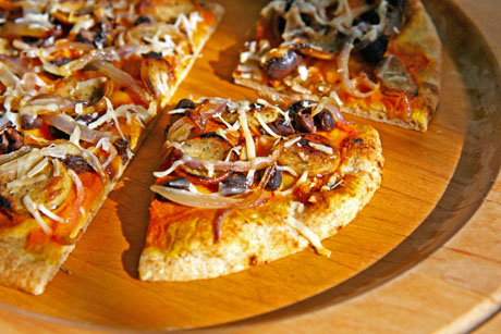 Whole-wheat-pizza-with-pumpkin-black-beans-and-caramelized-onion-slices