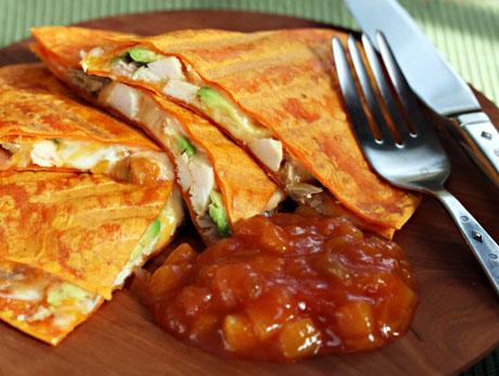 Chicken-avocado-and-peach-salsa-quesadilla-1