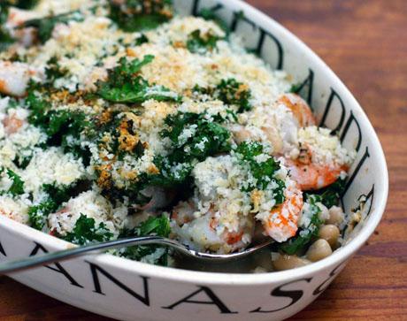 Shrimp-kale-and-cannellini-bean-casserole