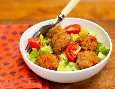Italian turkey meatballs with sun-dried tomatoes and basil, from The Perfect Pantry.