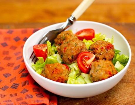 Greek Red Pepper And Feta Turkey Meatball Salad Recipes — Dishmaps