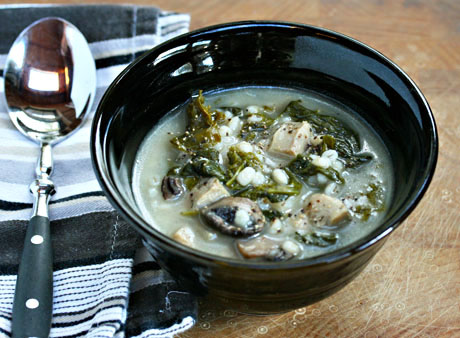 Barley-and-kale-soup-with-garlic-chicken-sausage-and-mushrooms