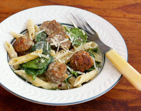 Turkey-falafel-meatballs-with-pasta-spinach-and-tahini-dressing