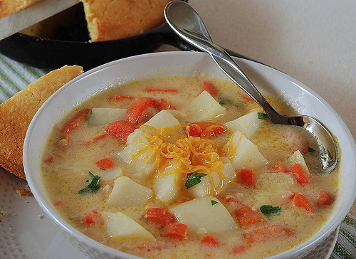 Vegetable cheese chowder, from Salad in a Jar (on Soup Chick).