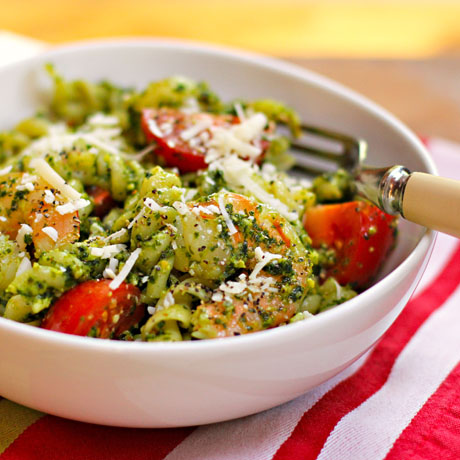 Pasta with shrimp, tomato and kale pesto, from The Perfect Pantry.