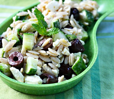 Whole wheat orzo with cucumber, mint, feta and olives, from The Perfect Pantry.