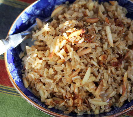 Brown-rice-and-almond-pilaf-detail
