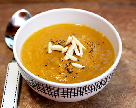 Yam-apple-and-carrot-soup-garnished
