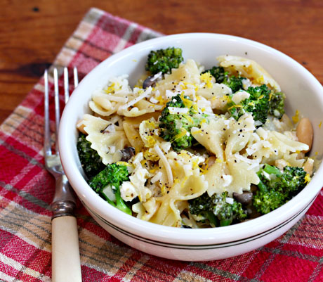 Pasta-bow-ties-with-broccoli-white-beans-and-pine-nuts