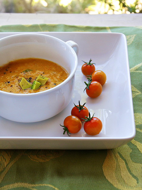 Sweet red pepper soup, a bowl of summer goodness from Sass & Veracity.