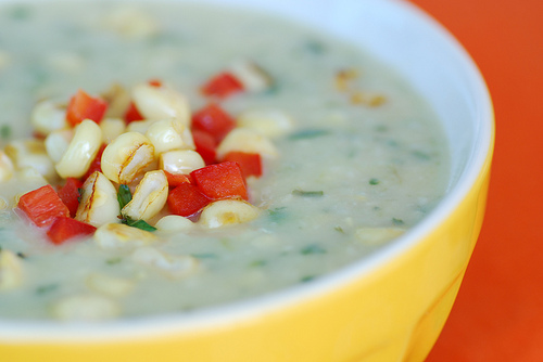 Creamy corn and zucchini soup, from Food Blogga.