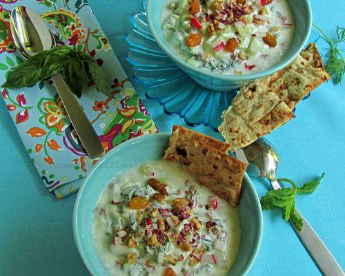 Persian cold yogurt soup with cucumbers, herbs, walnuts and raisins, from Turmeric and Saffron.