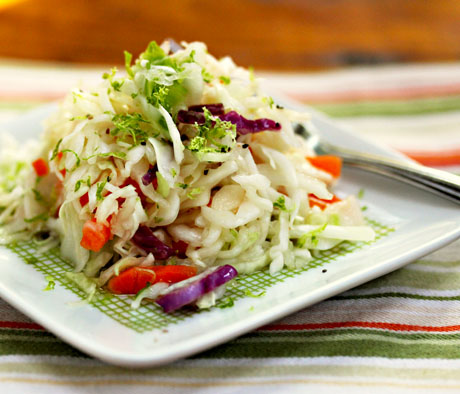 Quick and easy Asian pickled cole slaw, from The Perfect Pantry.