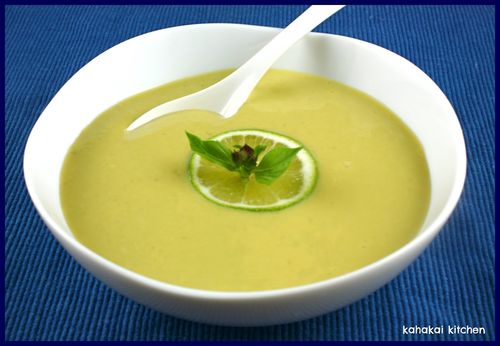 Creamy lime and coconut edamame soup (hot or cold, Thai-inspired), from Kahakai Kitchen, for Meatless Monday.