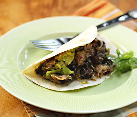 Tomatillo and black bean tacos, easy in the slow cooker.