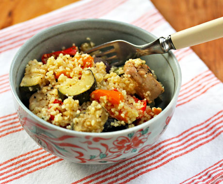 Hot roasted vegetables with couscous, from The Perfect Pantry.