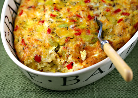 Egg and cheese casserole with leeks, red pepper and bacon, from The Perfect Pantry.
