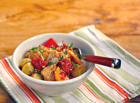 Slow cooker tuna with potatoes.