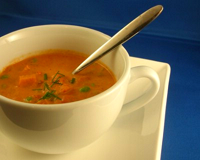 Curried tomato soup, from A Veggie Venture.