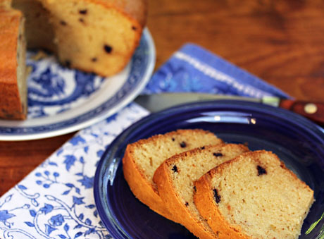 Chocolate chip spice pound cake, for Julia Child's birthday, from The Perfect Pantry.