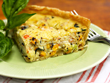 Lobster, corn and basil quiche, from The Perfect Pantry.