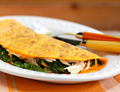 Stick lots of leftovers into these turkey, kale and cheese quesadillas.