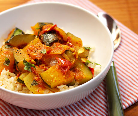 Spicy vegan zucchini and tomato stew with garlic and mint, from The Perfect Pantry.
